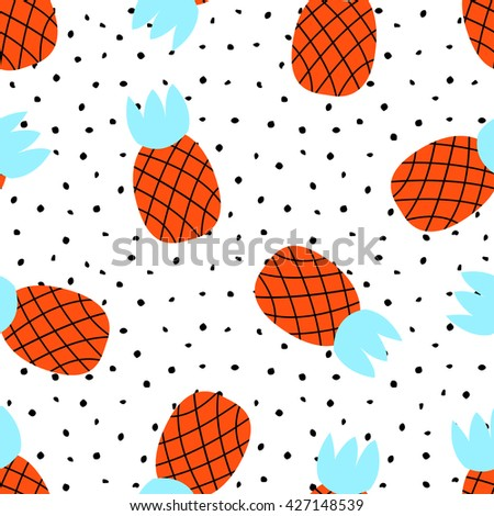 Seamless pattern with pineapples are located in random order, hand-drawn on a white background with black circles, tropical style