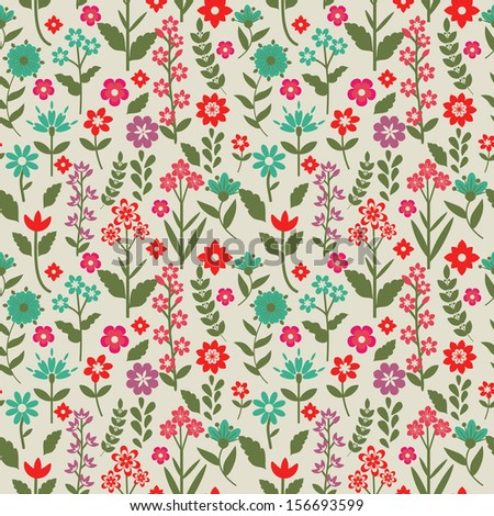 Seamless pattern with pink and blue flowers - stock vector