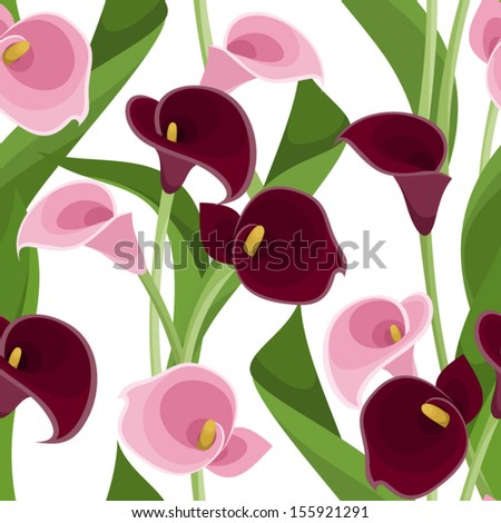 Seamless pattern with pink and purple calla lilies on white. Vector illustration. - stock vector