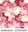Seamless pattern with pink and white roses. Vector illustration. - stock photo
