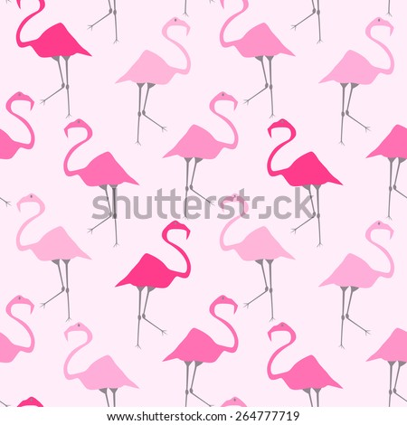 seamless pattern with pink flamingos  - stock vector