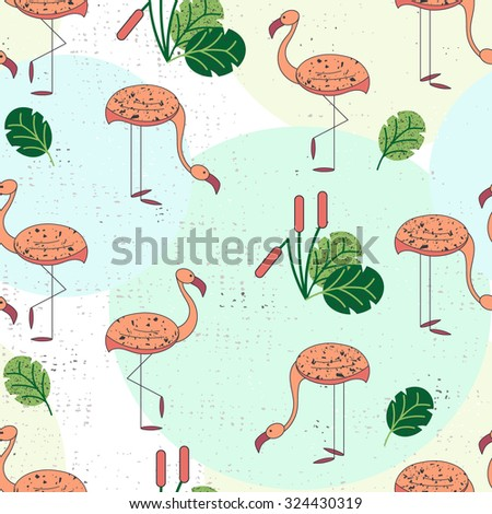 Seamless pattern with pink flamingos and exotic foliage. Vector illustration.