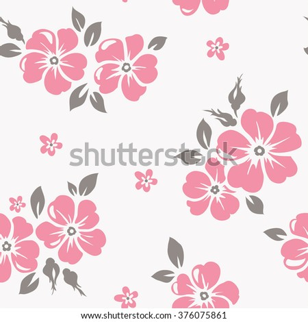 Seamless pattern with pink flowers - stock vector