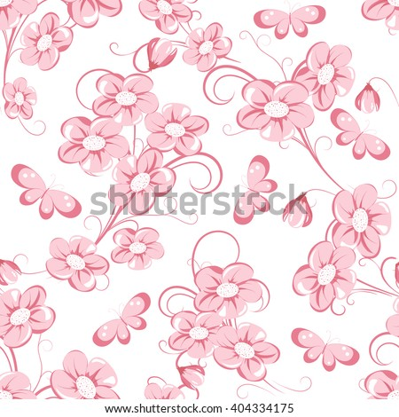 seamless pattern with pink flowers and bud  on white background, vector illustration - stock vector