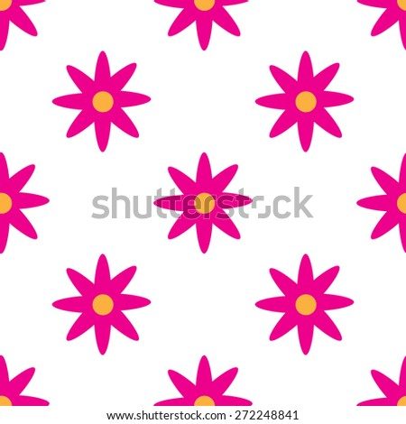 Seamless pattern with pink flowers on white background - stock vector