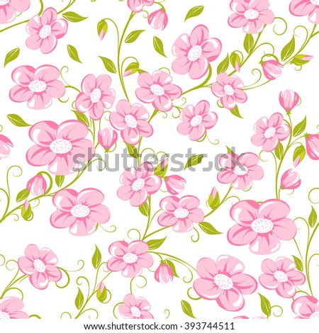 seamless pattern with pink flowers on white background, vector illustration - stock vector