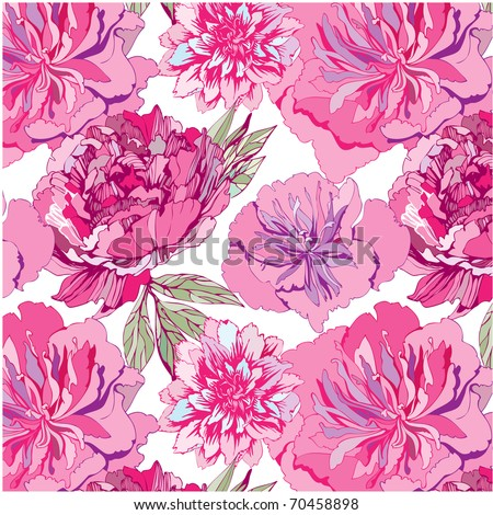 seamless pattern with pink flowers. Peony - stock vector