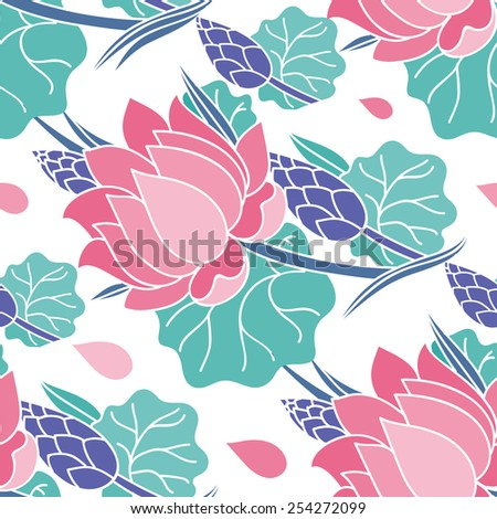 Seamless pattern with pink lotus, leaves and buds. - stock vector