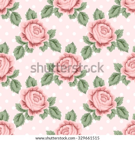 Seamless pattern with pink roses and leaves on light pink polka dot background. Vector illustration in retro style.