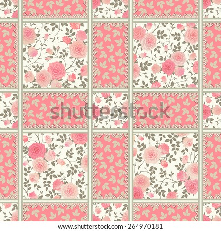 Seamless pattern with pink roses, leaves and laces. Vector floral checkered backgrounds set. Patchwork texture. - stock vector