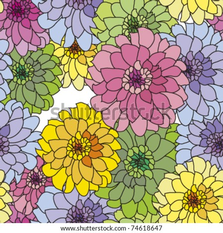 seamless pattern with pink yellow blue dahlia, vector - stock vector