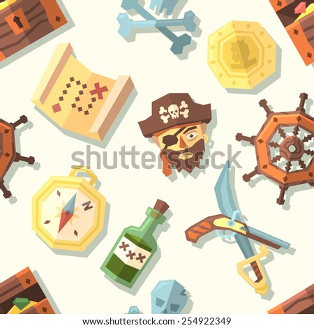 Seamless pattern with pirate icons. Vector illustration. - stock vector