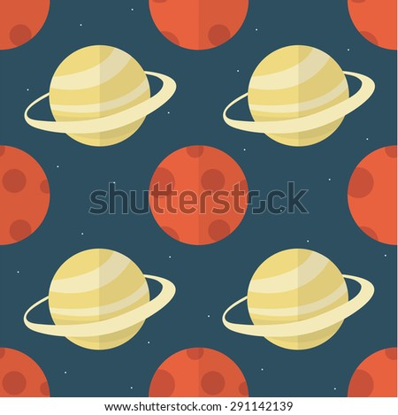 seamless pattern with planets. vector illustration - stock vector