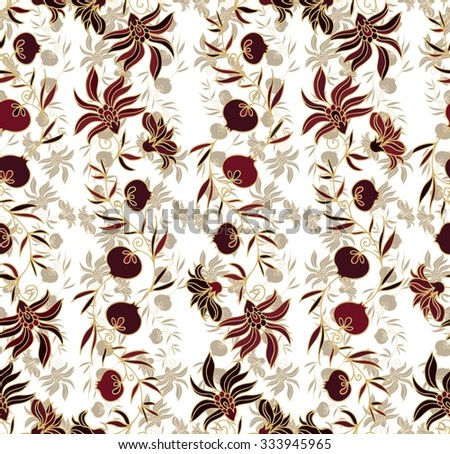 Seamless pattern with pomegranates - stock vector