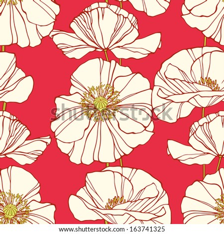Seamless pattern with poppies. Elegant floral background. Vector illustration - stock vector