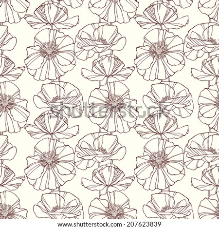 Seamless pattern with poppies. Floral background. Vector illustration - stock vector