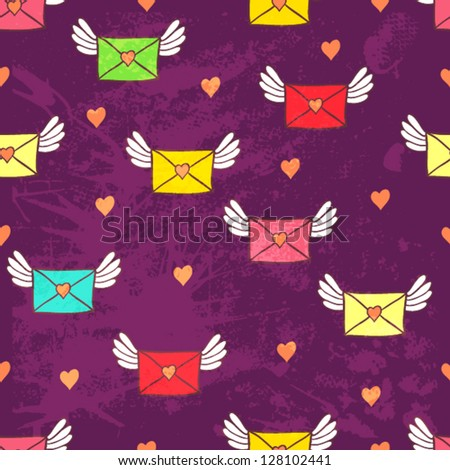 Seamless pattern with post letters. Love mail. Copy square to the side and you'll get seamlessly tiling pattern which gives the resulting image ability to be repeated or tiled without visible seams.