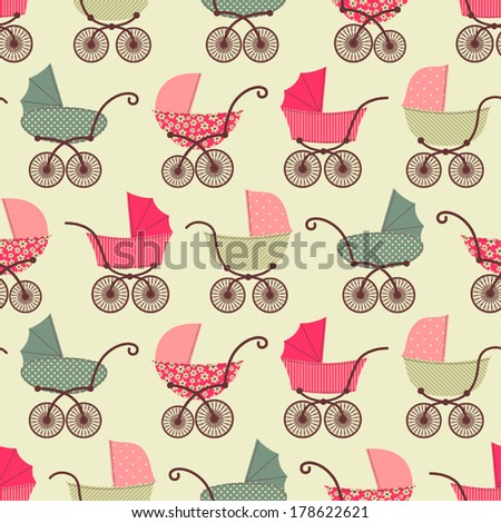Seamless pattern with prams. - stock vector