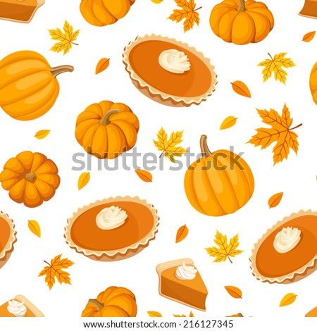 Seamless pattern with pumpkin pies and pumpkins. Vector illustration. - stock vector