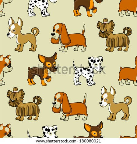 Seamless pattern with puppies. dalmatian - stock vector
