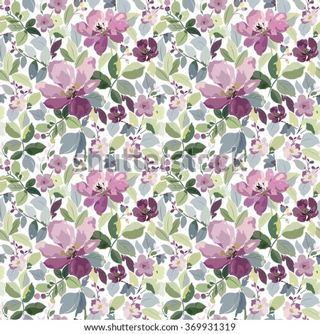 Seamless pattern with purple flowers, branches of leaves and buds. - stock vector