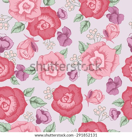 Seamless pattern with purple flowers , with red and pink roses . with berries . floral pattern . Vector on a light background