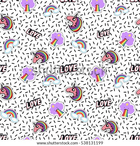 Seamless pattern with rainbow, cloud vomit rainbow, unicorn, love label. Cute vector art in badges, stickers, pins, patches style, inspired by cartoon comic style of 80s-90s.