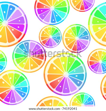 Seamless pattern with rainbow lemon slices over white background