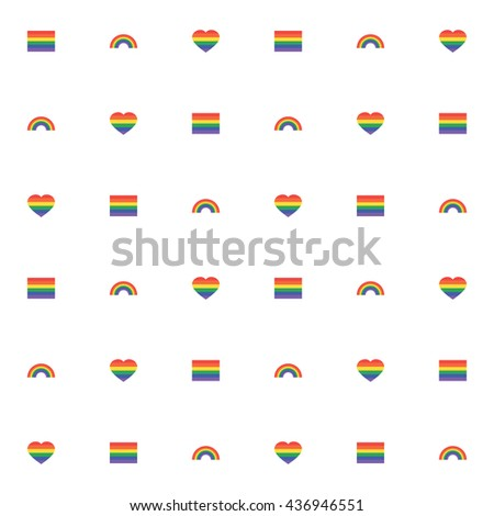 Seamless pattern with rainbow, rainbow heart and flag. pride Lgbt sign for web, print, wallpaper, fashion fabric, textile design, background for invitation card or holiday decor. vector illustration.