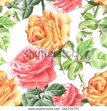 Seamless pattern with realistic watercolor roses.  Vector. Hand drawn. - stock vector