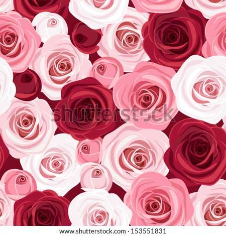 Seamless pattern with red and pink roses. Vector illustration. - stock vector