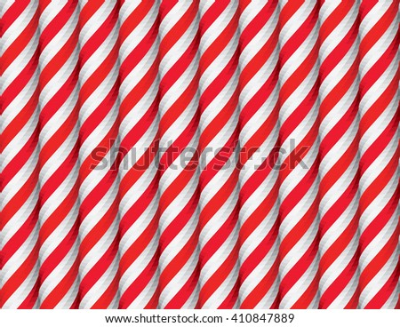 Seamless Pattern with Red and White Candy Cane Stripes. Xmas Texture with Candy Canes Background. Festive Vector Illustration. - stock vector