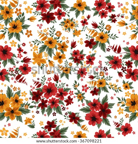 Seamless Pattern with Red and Yellow Flowers in Vintage Style. Vector illustration - stock vector