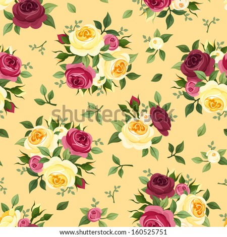 Seamless pattern with red and yellow roses. Vector illustration. - stock vector