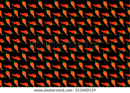 Seamless pattern with red chili peppers. - stock vector