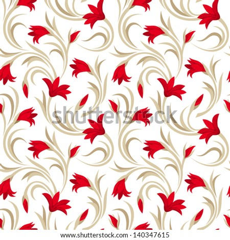 Seamless pattern with red gladiolus flowers. Vector illustration. - stock vector