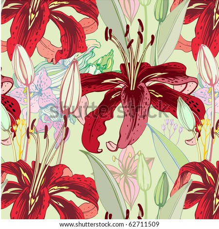 seamless pattern with red lilies - stock vector