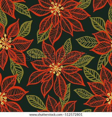 Seamless pattern with red poinsettia plant on dark green background