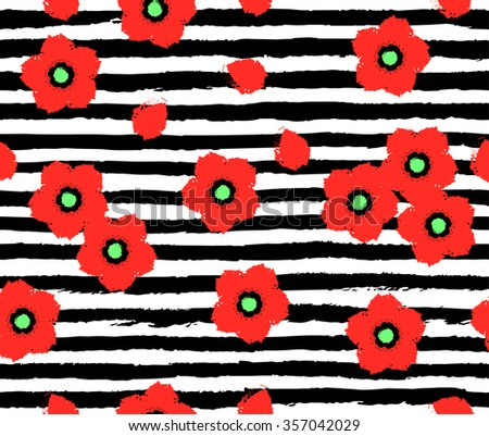 Seamless pattern with red poppies and grunge black hand drawn stripes. Cute and stylish seamless background for all decorative works - stock vector
