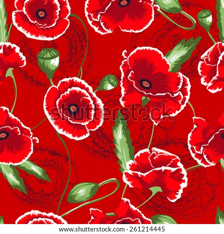Seamless pattern with red poppy flowers and buds. Flowers texture. - stock vector