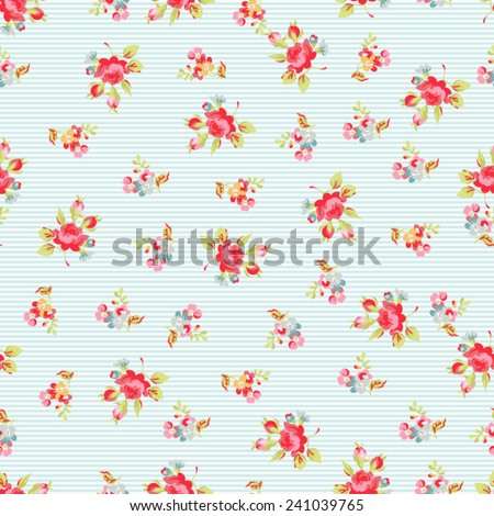 Seamless Pattern with red roses  - stock vector