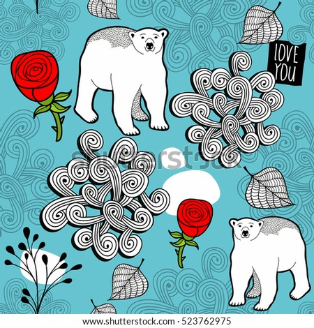 Seamless pattern with red roses and white polar bears. Vector endless background.