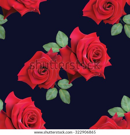 Seamless pattern with red roses on a dark blue background.Vector illustration. - stock vector