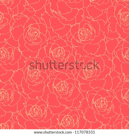 seamless pattern with red roses. vector illustration