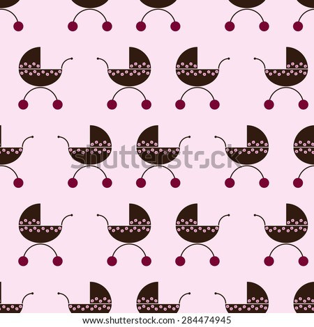 Seamless pattern with repeating brown colored prams decorated with pink flowers with cherry colored wheel isolated on white background - stock vector