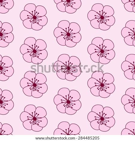 Seamless pattern with repeating pink stylized sakura flowers with cherry colored wheel isolated on white background - stock vector