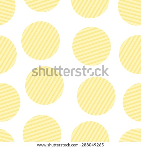 Seamless pattern with repeating round corrugated potato chips isolated on white background - stock vector