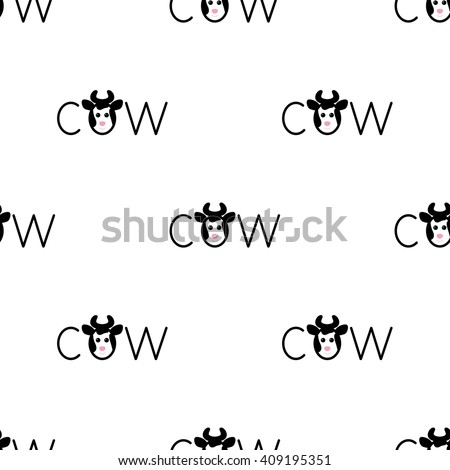 Seamless pattern with repeating spotted cow lettering o in the shape of cow`s head with horns isolated on white background - stock vector