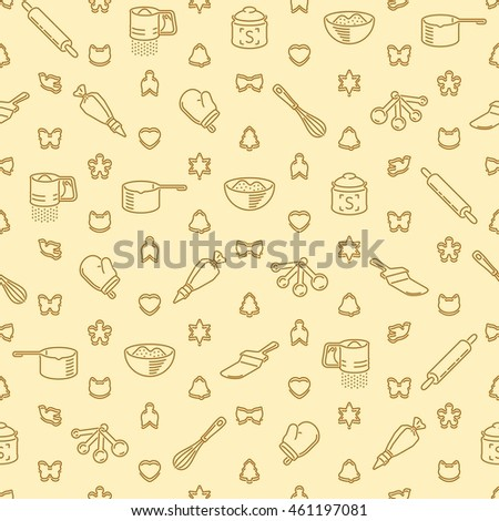 Restaurant Kitchen Utensils seamless pattern restaurant kitchen utensils cookies stock vector