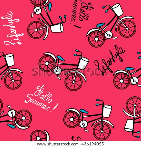Seamless pattern with retro bicycles. Drawing and lettering by hand. Vector illustration in cartoon style. Pink background. - stock vector